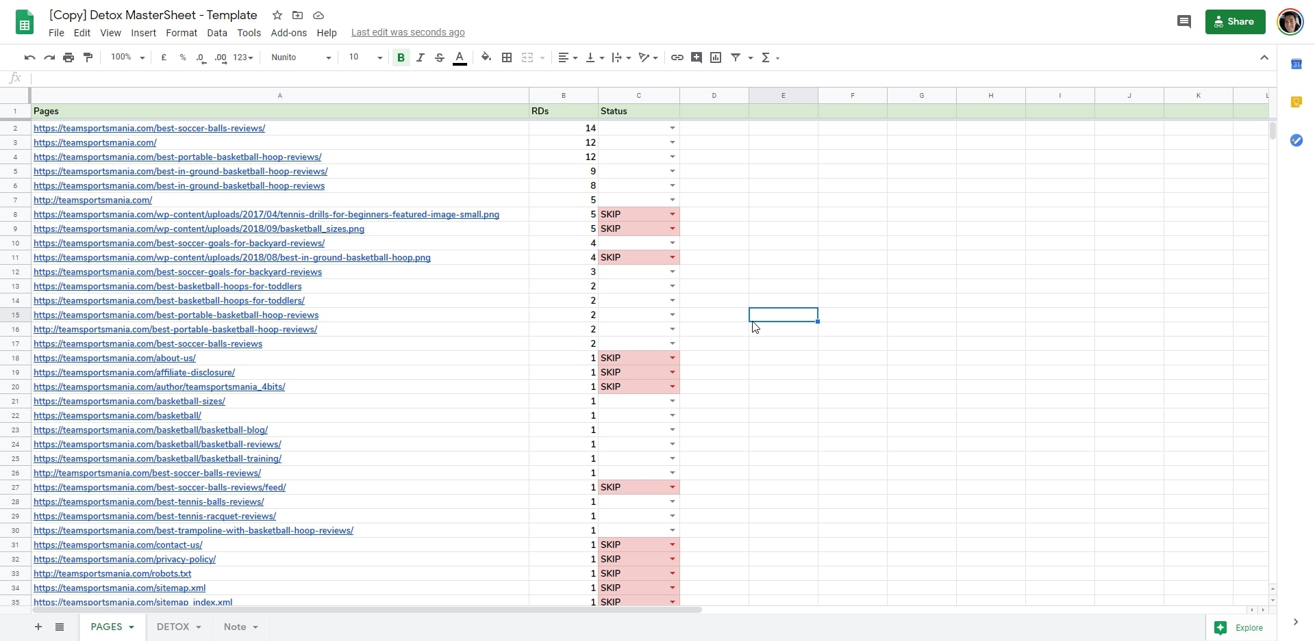Detox Google Sheets - Skip Pages